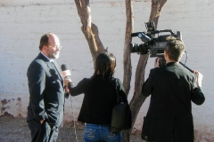 Lars-Ake Nyman attending journalists